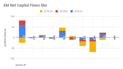 Emerging markets portfolio flows deteriorated in 2018, most volatile year since 2010