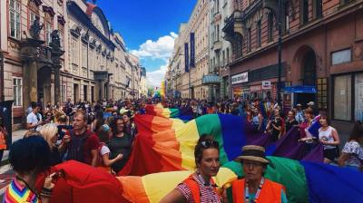 LGBT Prague Pride supporters march as parliament debates same-sex marriage laws