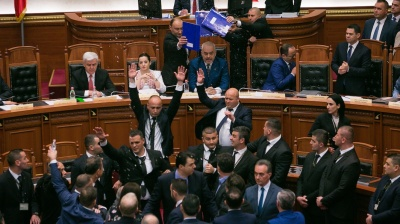 Albanian MPs throw eggs, flour and water in chaotic parliament session