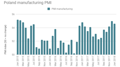 Poland's PMI falls slightly in January, manufacturing expansion still robust