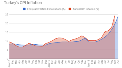 Turkey's end-year inflation expectations reach 24.22% in October