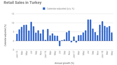 Turkey's retail sales growth falls sharply to 4.6% y/y in May