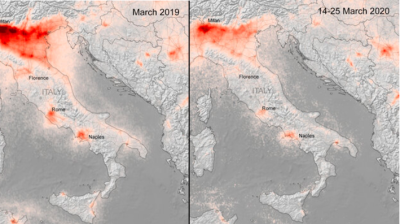 Dramatic fall in pollution in European coronavirus hotspots but business as usual in the Balkans