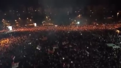 Huge crowds gather in Podgorica to celebrate opposition's victory after 30 years of DPS