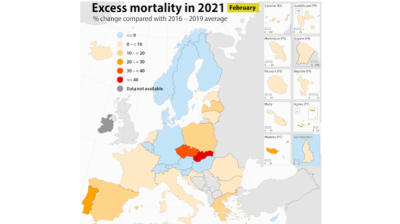 Czechia and Slovakia recorded the highest excess mortality rates in the EU in February