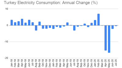 Turkey's electricity consumption down 0.5% y/y in July