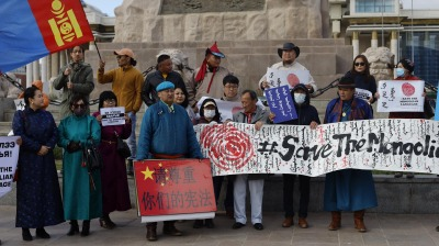 Demonstrators protest as Chinese top diplomat visits Ulaanbaatar amid row over claimed native language suppression in Inner Mongolia