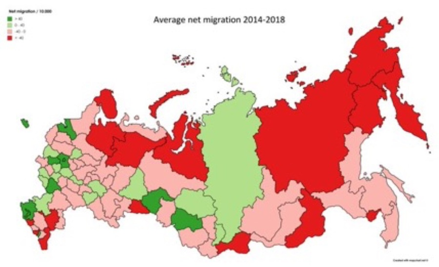 Population Map Of Russia bne IntelliNews   Russian population is moving west